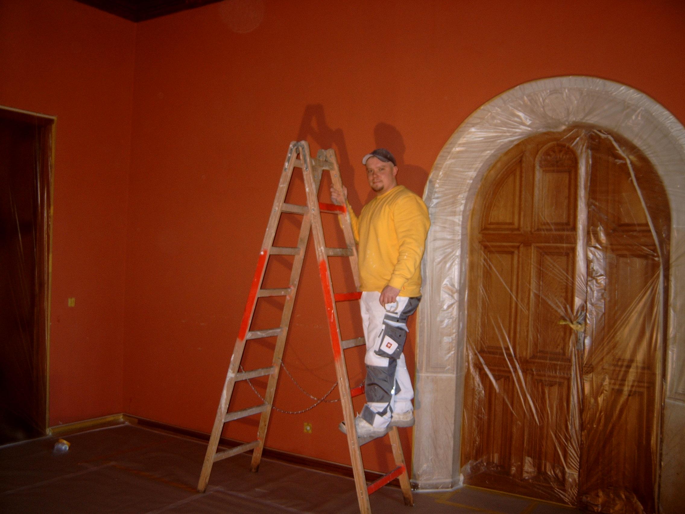 Sanierungsarbeiten im Roten Salon